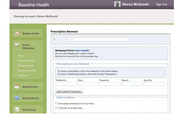 Patient portal prescription refill request