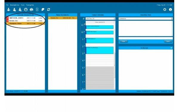 EHR main screen