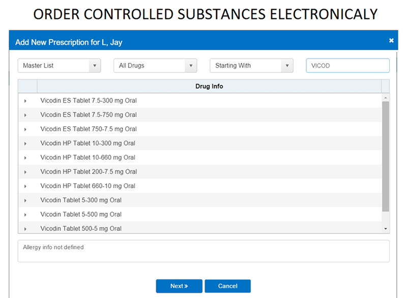 Order controlled substances electronically